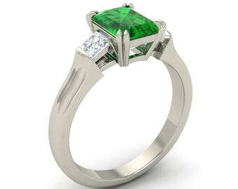 Natural Emerald Engagement Ring | Three Stone Diamond Ring | Certified Emerald With VS Diamond 14K Gold | AAA Green Emerald Ring