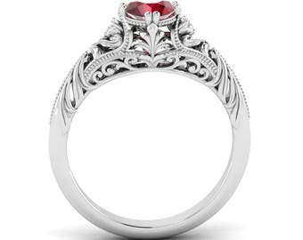 Birthstone Ruby with Diamond Engagement Ring 14K White Gold, Rose Gold | Natural AAA Ruby Engagement Ring Certified | Vintage Inspired Ring