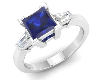 Princess Cut Blue Sapphire Ring, 14K White Gold, Unique Engagement Ring, Anniversary Ring, Wedding Ring, Sapphire With Diamond Gold Ring