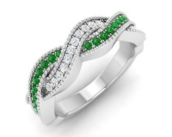 Emerald Engagement Ring, 14K White Gold, Diamond Eternity Ring, Anniversary Ring, Wedding Ring, Natural Emerald Ring, Eternity Promise Ring