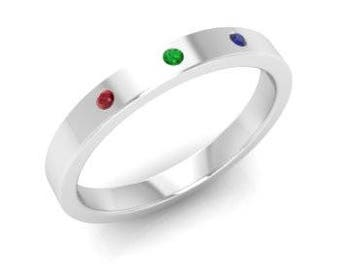 Round Ruby, Sapphire and Emerald Men's Engagement Ring in Solid 10K White Gold & Sterling Silver - 3MM Width