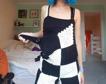Crochet Dungarees - Black and White Checkered - Handmade