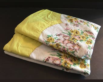 "2 Vintage Pillowcases, 1950s Pink Poodles & Yellow Flowers, 32.5"" x 17"", Set, Pair Cotton Bed Pillowcases, Homemade Mid-Century Bedding"