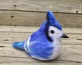 Felted bluejay Tree ornament Mothers Day Gift Holiday tree decoration Bluejays fan souvenir Needle felted bird Blue Bird gift Nature lover