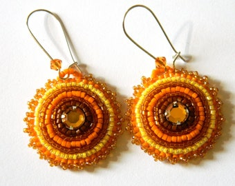 Orange Topaz seed beads embroidered earrings