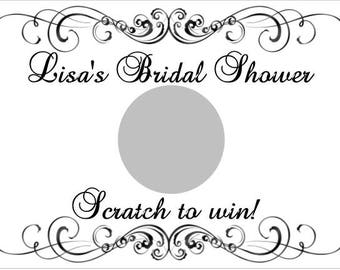20 Black and White Bridal Shower Scratch Off Game Cards Personalized Bridal Shower Game Idea