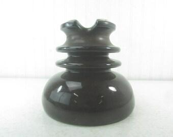 VINTAGE LARGE INSULATOR, ceramic insulator, brown, Vintage power line insulator, vintage decor, industrial decor, man cave, candle holde