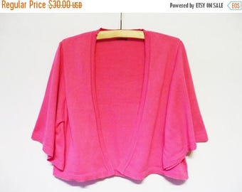 ON SALE Pink Knit Bolero Jacket Cotton Knitted Cardigan Bell Sleeve Petal Pink Large Size