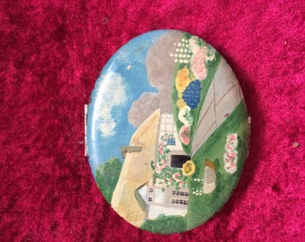 Vintage Painted Makeup Compact