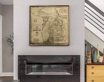 Vintage Michigan map vintage 1856 old map of Michigan Old Antique Restoration Hardware Style wall Map Lake Michigan map Housewarming gift