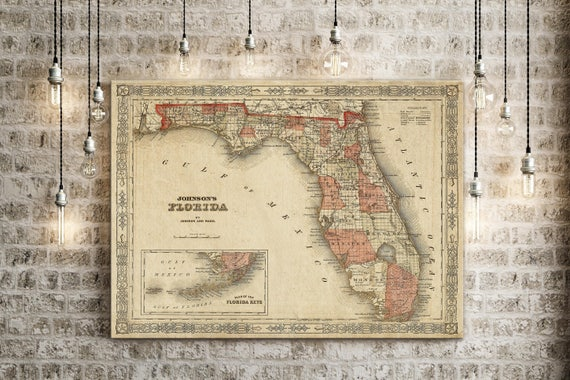 Old Florida Map 1863 Johnson's Map of Florida Restoration Hardware Style Florida state Map Vintage Florida Wall Map Fine Art Map Print Gift