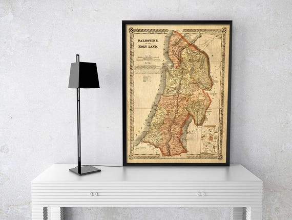 Holy Land map 1865 Map of Palestine Biblical Regions Antique Restoration Hardware Style Jerusalem Wall Map Vintage Map Home Decor Gift Idea