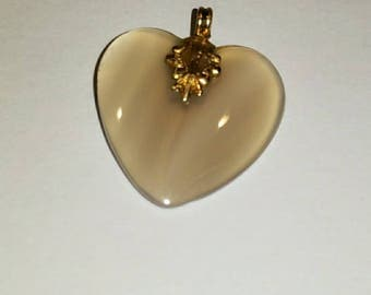 Vintage translucent agate heart pendant from  Montana