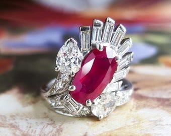 Vintage Retro Ruby and Mixed Diamond Ring 3.43ct t.w. Ruby Diamond Ring Platinum