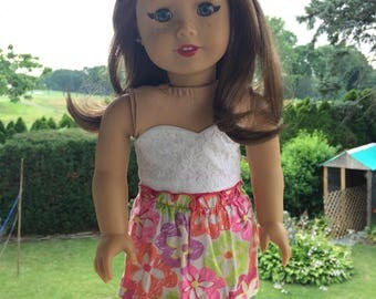 American Girl Doll Floral Skirt & Scarf