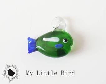 1 x 22mm Green fish keychain