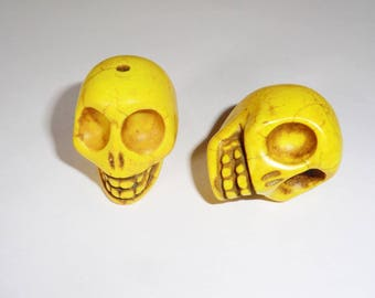 1 x 30mm yellow Howlite Skull skull