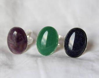 Rings with gemstones, Amethyst, aventurine, blue sandstone cabochon