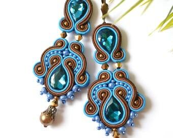 Blue Soutache earrings - Statement Earrings, Soutache Earrings, Beaded Earrings, Hand Embroidered Earrings,Fiber Earrings