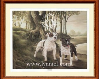STAFFORDSHIRE BULL TERRIERS 'Staffy' dog art print 'Goliate and Tai'