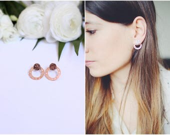 Pink and stone Ear gold circle earrings