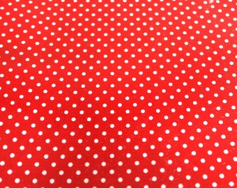 50 x 50 cm red and white polka dots coated fabric