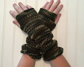 Awesome Extra Long Fingerless Gloves Hand-Knit in Camo Camouflage Greens