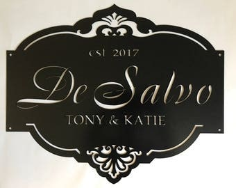 Personalized, metal sign with gorgeous detail