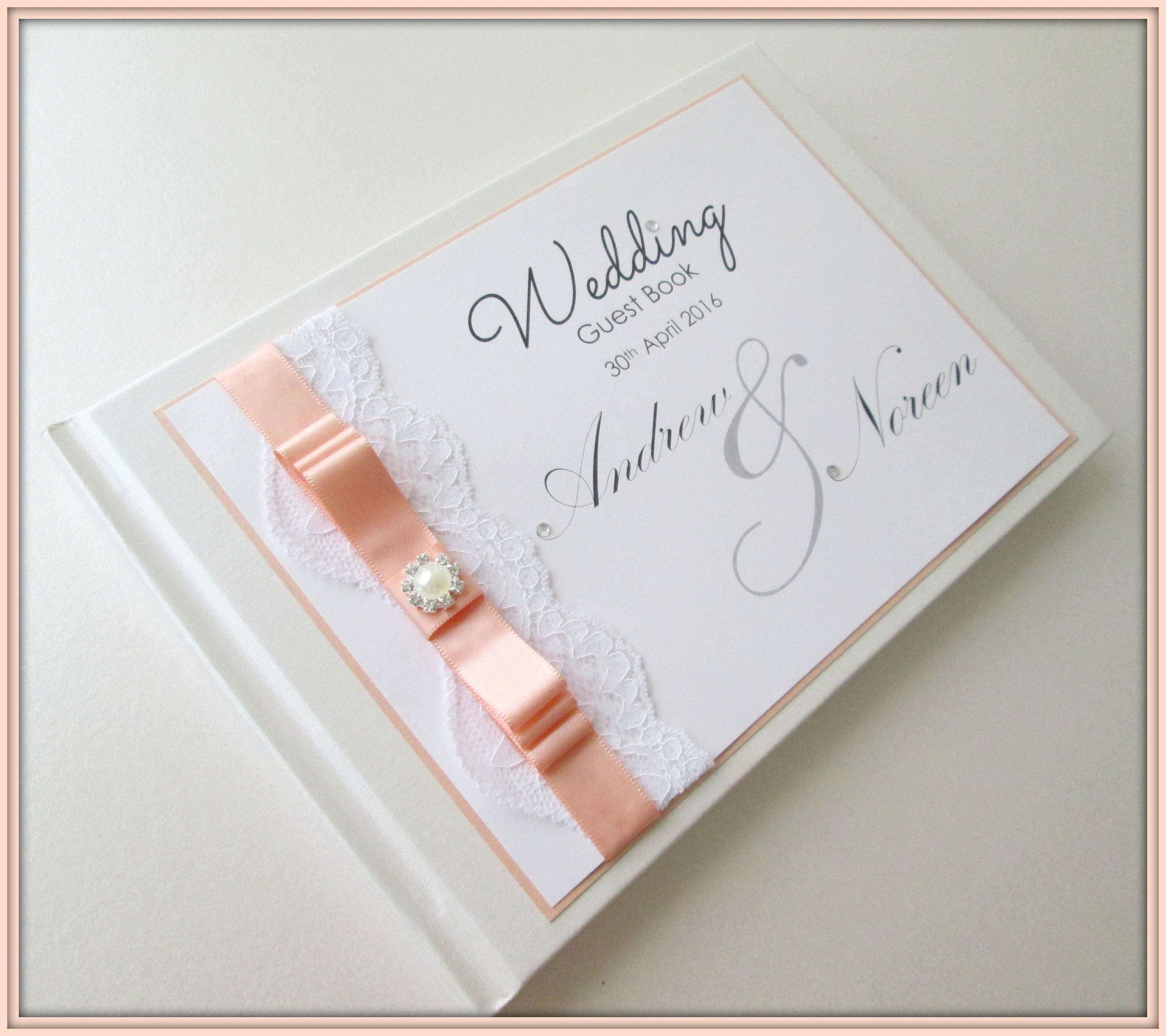 Personalised Lace Wedding Guest Book Card Post Box Angelina Colour Options Listed
