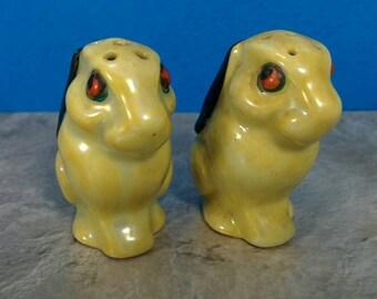 Vintage Evil, Red-Eyed Rabbit Salt and Pepper Shakers - Red Eyes, Black Ears, White Bunny