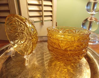 AMBER GLASS BOWLS, Set of 6 Desssert/Berry Bowls