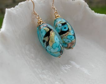 Blue Murano Earrings Oval Glass Earings