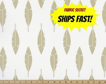 Metallic Feather Fabric by the YARD Premier Prints Gold on white Home Decor Upholstery curtains drapes runners pillows -  SHIPsFAST