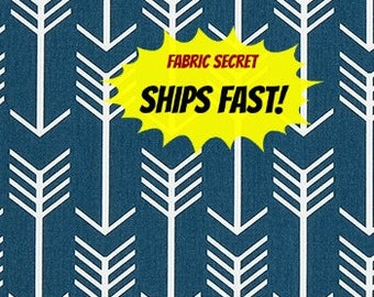 Navy Arrow Fabric by the YARD geometric upholstery home decor Premier Prints blue crafts curtains drapes pillows  SHIPsFAST