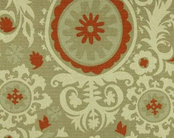 Suzani Upholstery Fabric by the YARD home decor curtain pillow runner drapes khaki green rust orange Arizona Denton Premier Prints SHIPsFAST