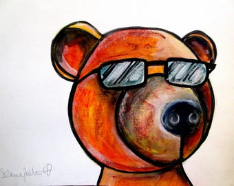 Cool Dude Bear!!!  An original watercolour/pastel and pen painting by Suzanne Patterson.