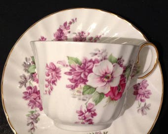 Beautiful and Delicate Regency English Bone China September Teacup and Saucer Traditional Beautiful Pink Flowers Gold Trim Birthday Gift