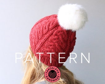 PATTERN LISTING - Zooey Hat - Slouchy Beanie / Toque / Twist / Faux Fur / Cable Knit / PDF Knit Hat Pattern / Knitting Instructions