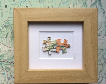 Valentines Day gift - love map art - jigsaw puzzle - mini frame - you complete me - long distance love - UK and world maps - relationship
