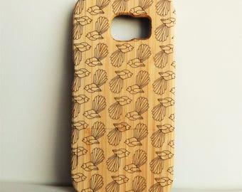WOODEN PHONE CASE Samsung fantails design laser etched bamboo (wooden Samsung S7 case)
