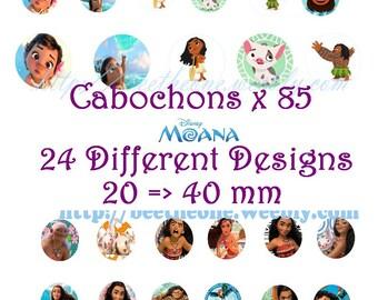 Moana Disney Digital Collage 2 Sheets 85 images 20, 30, 40 mm Cabochons Bottlecap Pendant Magnets Printable Image clipart Download
