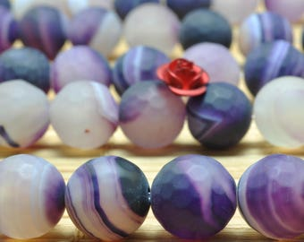 37 pcs of Purple Banded Agate faceted and matte round beads in 10mm