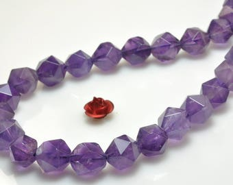 47 Pcs of Natural Amethyst Faceted nugget beads in 8mm