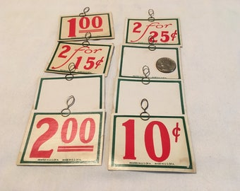 Lot of 8 Antique Store Price Tags