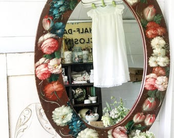 Beautiful vintage Flemish style French/Dutch hand painted oval mirror