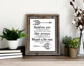Psalm 127 Bible Verse Wall Art | Scripture art print | Arrows poster | instant download printable quote