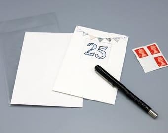 Silver Anniversary-Greeting card-25thAnniversary card-25th birthday card-blank card-hand painted - handmade - celebration card - uk seller