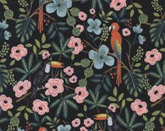 MENAGERIE By Rifle Paper Co.  For Cotton And Steel Fabrics Paradise Garden Midnight