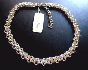 Signed Christian Dior Necklace Rhodium Plated New - Dior Logo