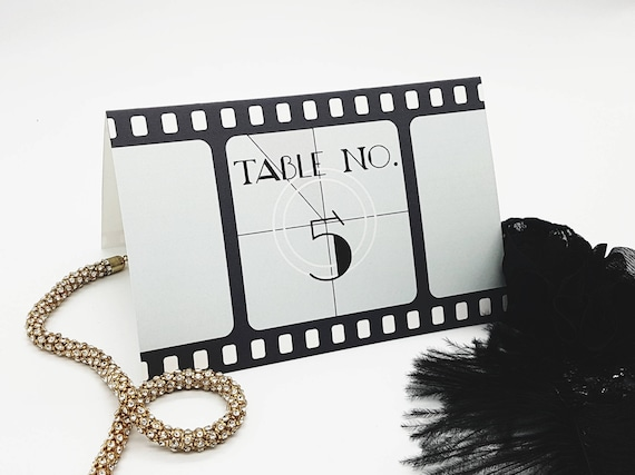 Printable Hollywood Table Numbers (35), Film Reel Party Ideas, Movie ...